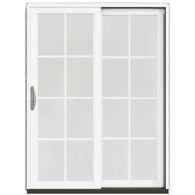 59-1/4 in. x 79-1/2 in. W-2500 Brilliant White Prehung Right-Hand Clad-Wood Sliding Patio Door with 8-Lite Grids