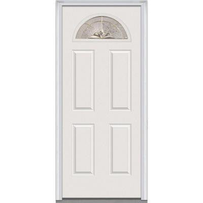 32 in. x 80 in. Heirloom Master Decorative Glass Fan Lite 4-Panel Primed White Fiberglass Smooth Prehung Front Door