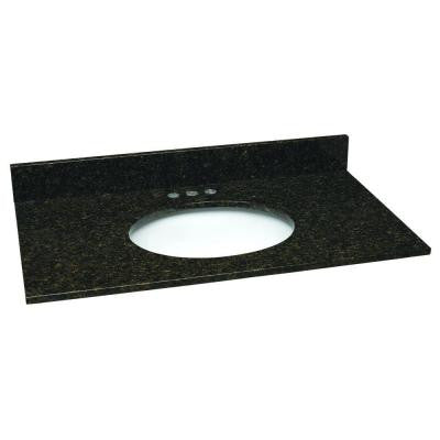 37 in. W Granite Vanity Top in Uba Tuba with White Bowl and 4 in. Faucet Spread