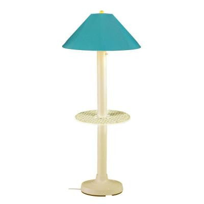 Catalina 63.5 in. Bisque Outdoor Floor Lamp with Tray Table and Aruba Shade