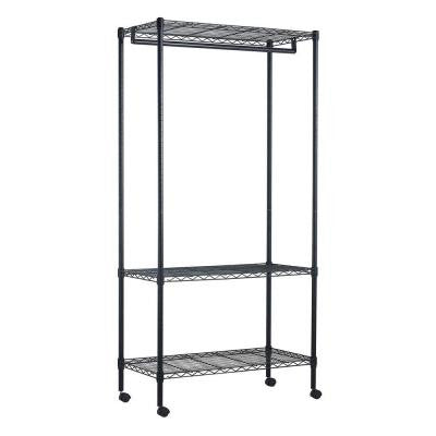 3-Shelf 35 in. W x 71 in. H x 17 in. D Steel Garment Rack in Black with Wheel