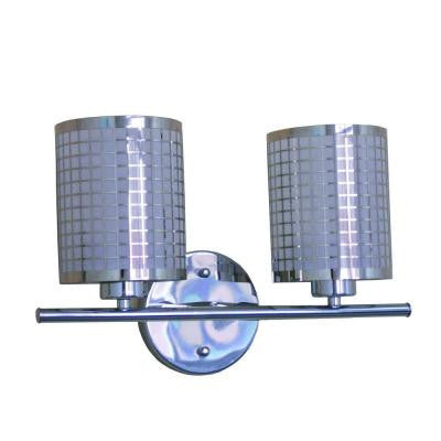 Summer Hill Collection 2-Light Chrome Bathroom Vanity Light with Steel Shade