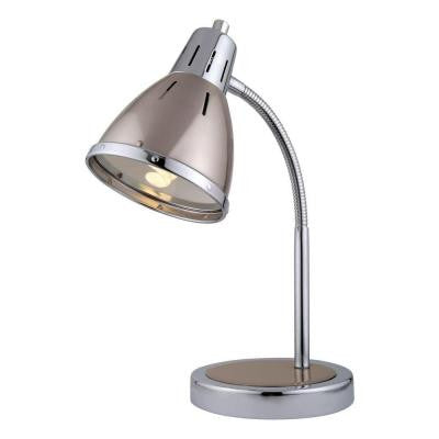 Designer Collection 15.5 in. Chrome Desk Lamp with Polished Steel Metal Shade