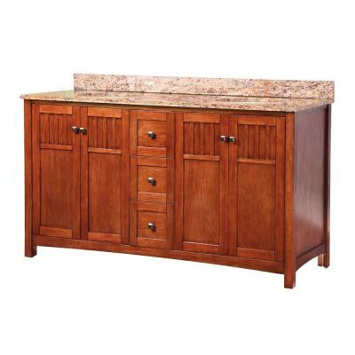 Knoxville 61 in. W x 22 in. D Vanity in Nutmeg and Double Bowl Vanity Top with Stone Effects in Bordeaux