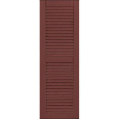 12 in. x 31 in. Exterior Composite Wood Louvered Shutters Pair Cottage Red