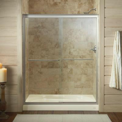 Fluence 59-5/8 in. x 70-5/16 in. Semi-Framed Sliding Shower Door in Matte Nickel with Clear Glass
