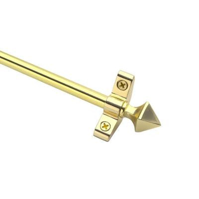 Plated Inspiration Collection Tubular 28.5 in. x 3/8 in. Polished Brass Finish Stair Rod Set with Pyramid Finials