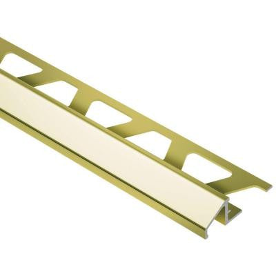 Reno-U Bright Brass Anodized Aluminum 3/8 in. x 8 ft. 2-1/2 in. Metal Reducer Tile Edging Trim