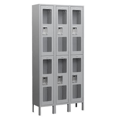 S-62000 Series 36 in. W x 78 in. H x 18 in. D 2-Tier See-Through Metal Locker Assembled in Gray