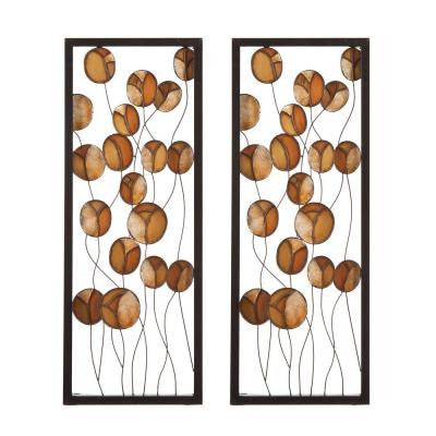 16.25 in. x 42.75 in. Abstract Metal/Capiz Decorative Wall Panel Set (2-Piece)