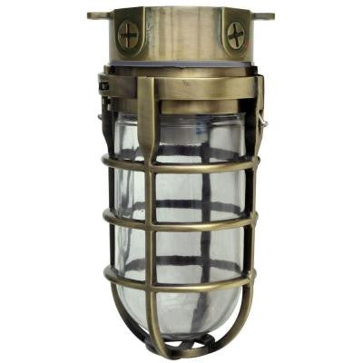 100-Watt Antique Brass Incandescent Industrial Ceiling Work Light