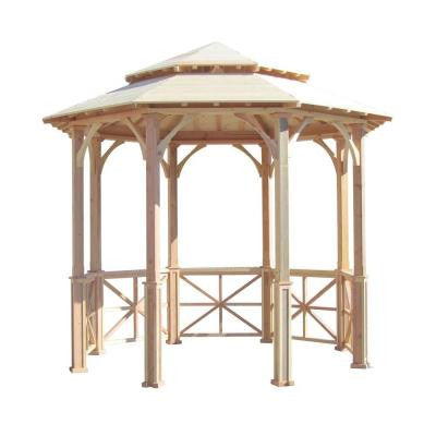 10 ft. Octagon English Cottage Garden Gazebo with Two-Tiered Roof - Adjustable for an Uneven Patio