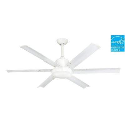 DC-6 52 in. Indoor/Outdoor Pure White Ceiling Fan with Light