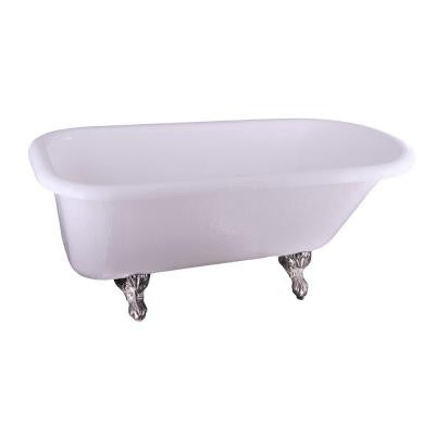5.6 ft. Acrylic Claw Foot Roll Top Tub in White with Polished Brass Feet