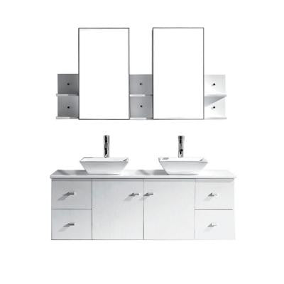 Clarissa 61 in. Double Vanity in White with Stone Vanity Top in White and Mirror Cabinets