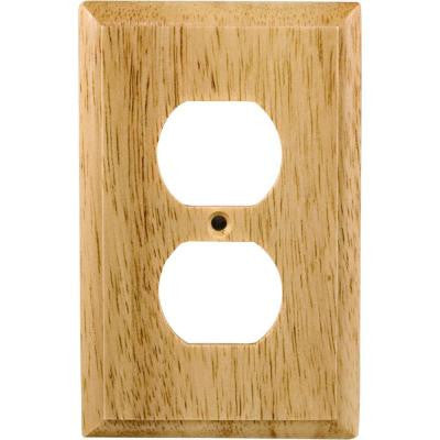 2 Receptacle Wall Plate - Un-Finished Solid Oak
