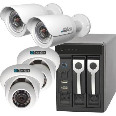 8-Channel Phoenix View 2 Dome and 2 Bullet IP Megapixel Camera Network Video Recorder Kit