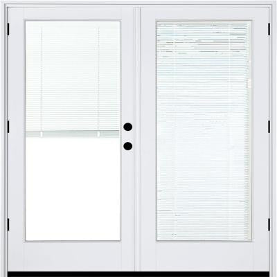 59-1/4 in. x 79-1/2 in. Composite White Left-Hand Outswing Hinged Patio Door with Low-E Blinds Between Glass