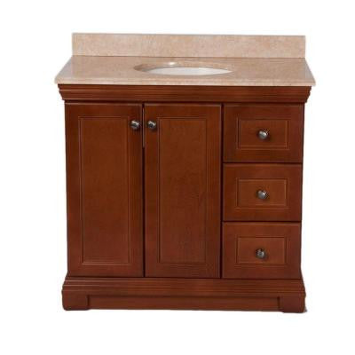 Brentwood 36 in. Vanity in Amber with Stone Effects Vanity Top in Oasis