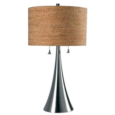 Bulletin 30 in. Brushed Steel Table Lamp