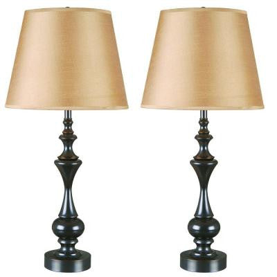 Stratton II 28 in. Oil-Rubbed Bronze Table Lamp Set (2-Pack)