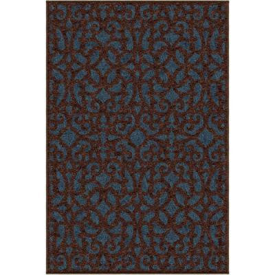 Sanborne Blue 5 ft. 2 in. x 7 ft. 6 in. Indoor/Outdoor Area Rug