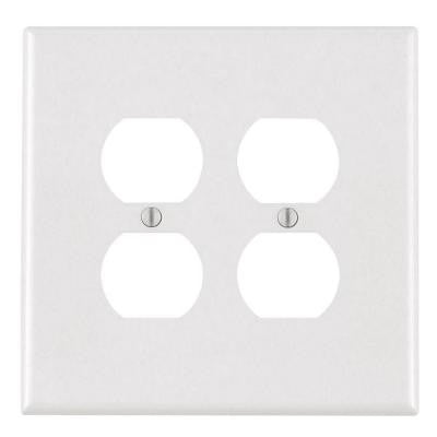 2 Gang Jumbo Duplex Outlet Wall Plate - White