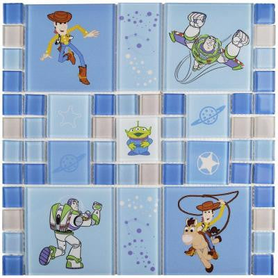Toy Story Blue 11-3/4 in. x 11-3/4 in. x 4 mm Glass Mosaic Tile