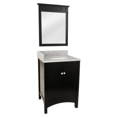 Haven 25 in. Vanity in Espresso with Granite Vanity Top and Espresso Mirror in Rushmore Grey