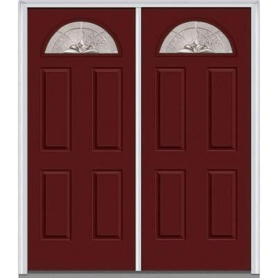 60 in. x 80 in. Heirloom Master Decorative Glass 1/4 Lite Painted Majestic Steel Double Prehung Front Door