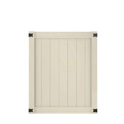 Pro Series 4 ft. x 5 ft. Tan Vinyl Woodbridge Privacy Fence Gate