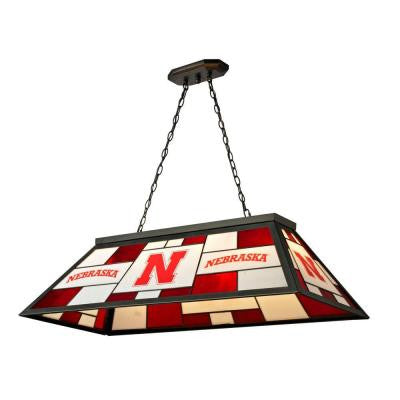 3-Light Black University of Nebraska Stained Glass Billiard Lamp