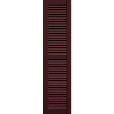 Wood Composite 15 in. x 61 in. Louvered Shutters Pair #657 Polished Mahogany
