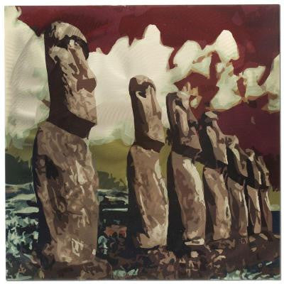 Brevium 22 in. x 22 in. Easter Island Metal Wall Art
