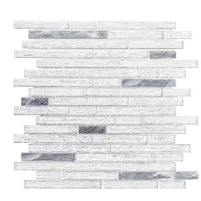 Ice Pencil 11-7/8 in. x 13 in. x 8 mm Glass/Metal Mosaic Tile