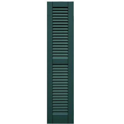 Wood Composite 12 in. x 55 in. Louvered Shutters Pair #633 Forest Green