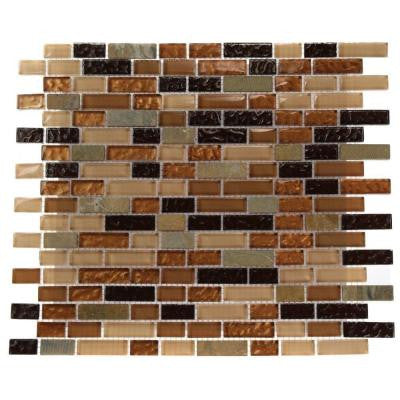 Golden Trail Blend Bricks 12 in. x 12 in. x 8 mm Marble and Glass Mosaic Floor and Wall Tile