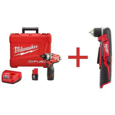 M12 FUEL 12-Volt Lithium-Ion 1/4 in. Hex Cordless Screwdriver Kit with M12 3/8 in. Right Angle Drill (Tool-Only)