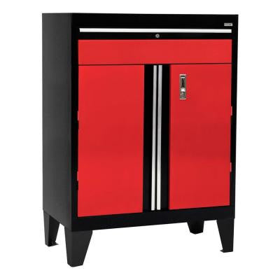 30 in. W x 18 in. D x 43 in. H Modular Steel Base Cabinet with Drawer Full Pull in Black/Red