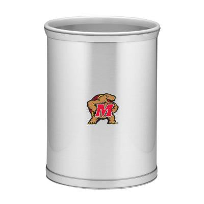 13 in. Maryland Brushed Chrome Mylar Oval Trash Can