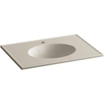 Ceramic/Impressions 31 in. Single Faucet Hole Vitreous China Vanity Top with Basin in Sandbar Impressions
