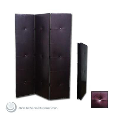 3-Panel Polyurethane Leather Room Divider in Dark Brown
