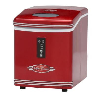 Retro Series 26 lb. Portable Ice Maker in Red