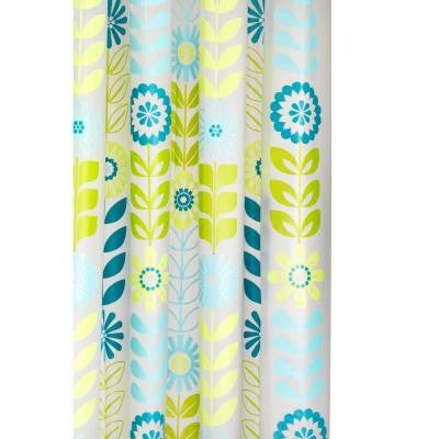70-7/8 in. Mod Floral Shower Curtain in Green/Clear