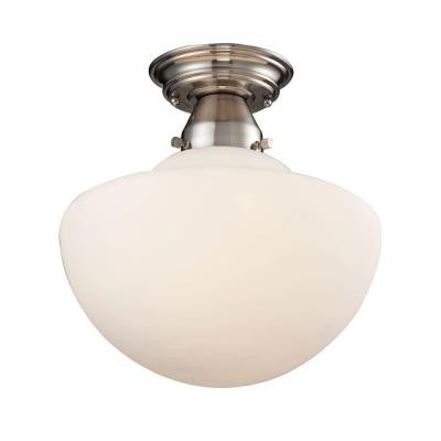 Schoolhouse Flushes 1-Light Satin Nickel Semi-Flush Mount Light