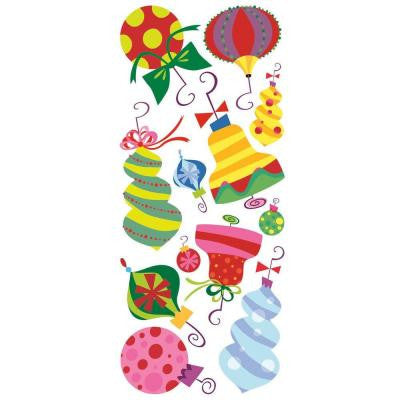 5 in. x 19 in. Holiday Ornaments Peel and Stick Giant Wall Decals