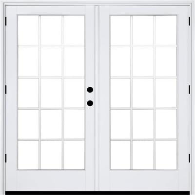 71-1/4 in. x 79-1/2 in. Composite White Left-Hand Outswing Hinged Patio Door with 15 Lite External Grilles