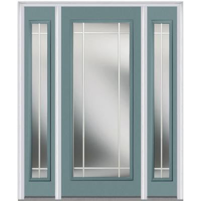 60 in. x 80 in. Classic Clear Glass PIM Full Lite Painted Majestic Steel Prehung Front Door with Sidelites