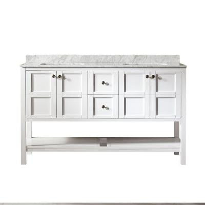 Florence 60 in. W x 22 in. D x 35 in. H Vanity in White with Marble Vanity Top in White with Basin