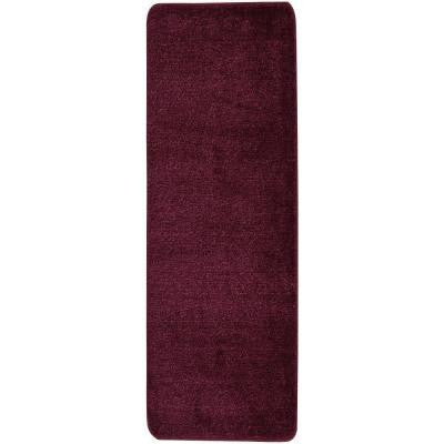 Solid Design Purple 1 ft. 8 in. x 4 ft. 11 in. Non-Slip Bathroom Rug Runner